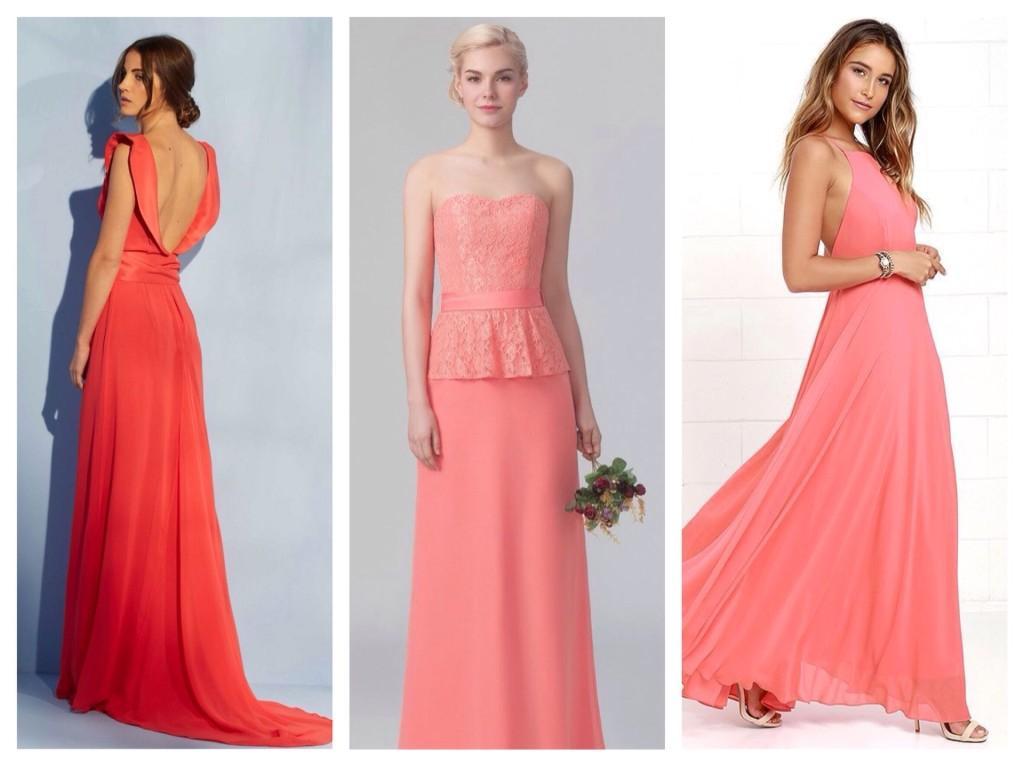 вечерние платья цвета коралл