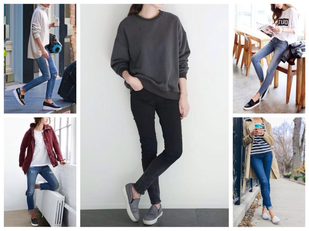 джинсы и слипоны