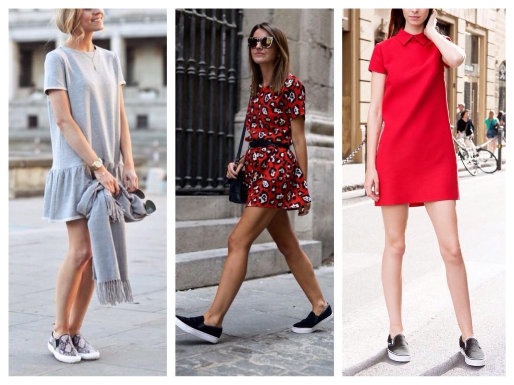 платье и слипоны летом