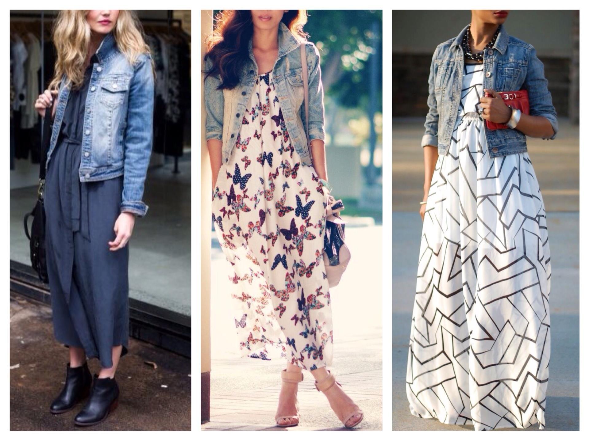 платье и джинсовая куртка фото