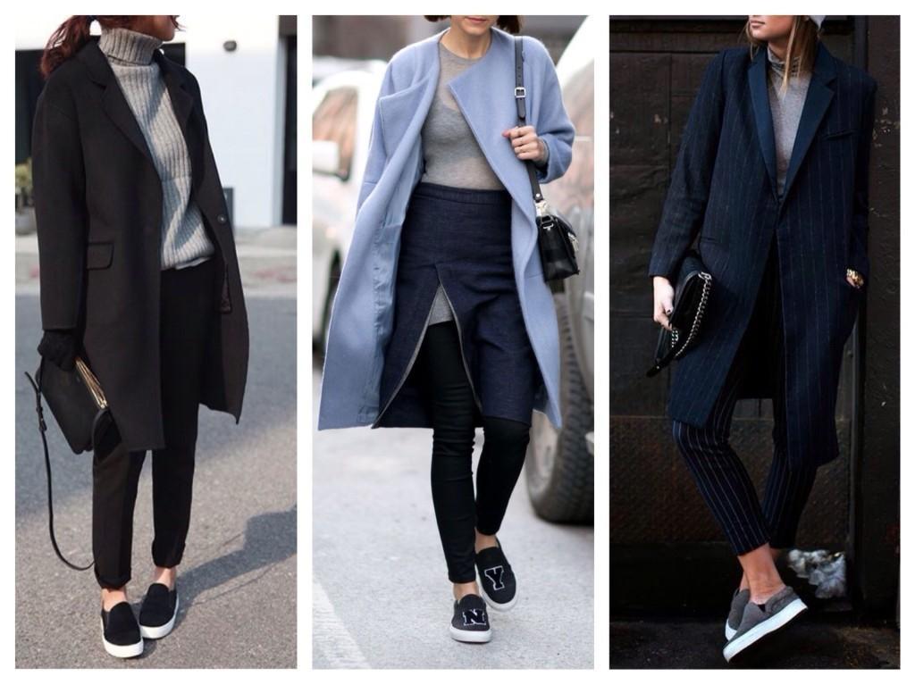 слипоны с пальто