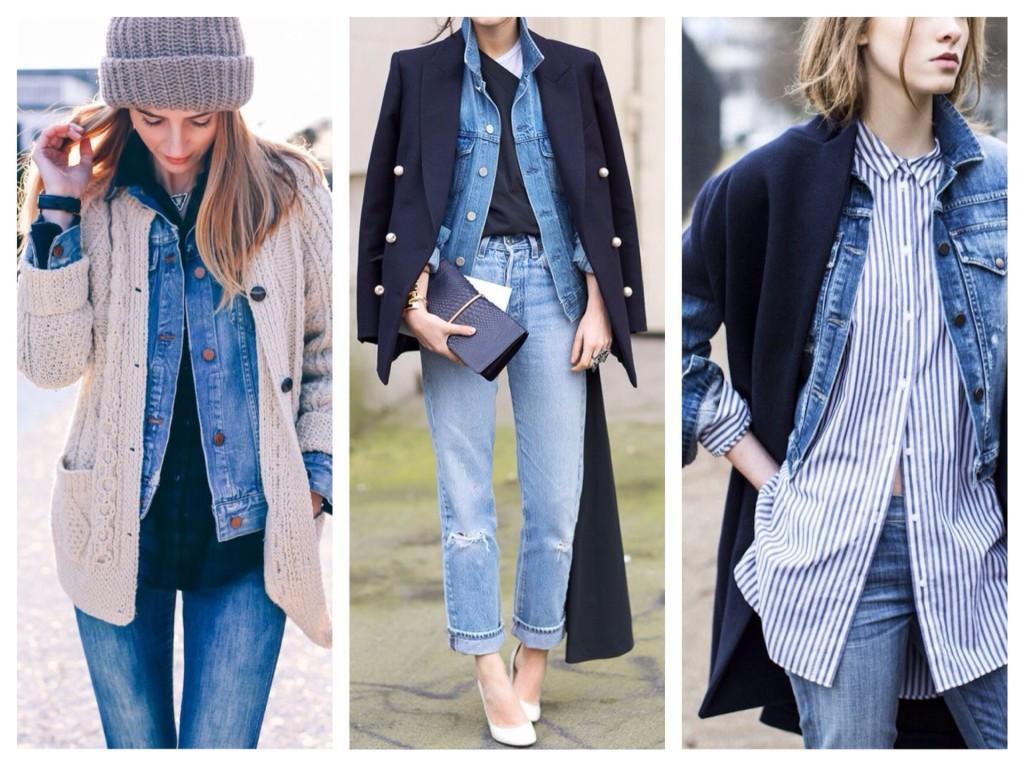 многослойность с джинсовой курткой