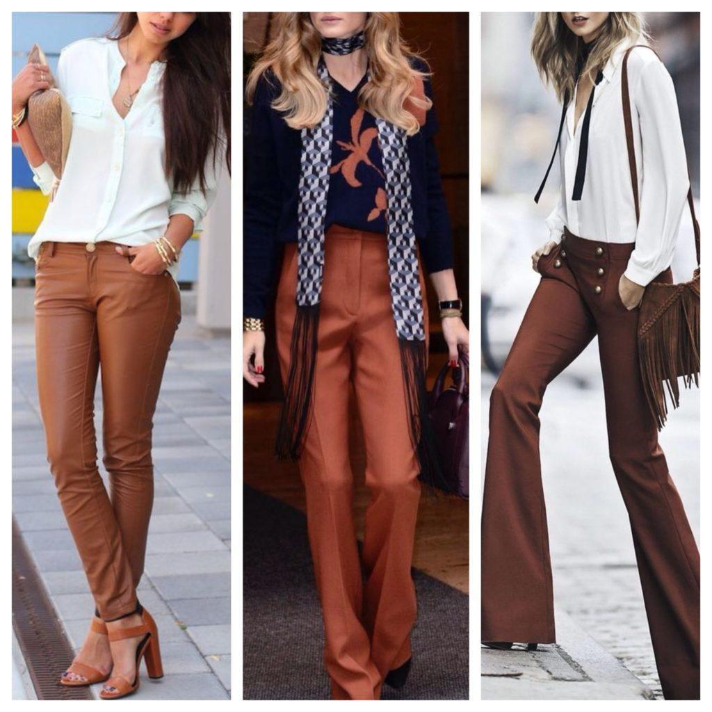 модели коричневых брюк