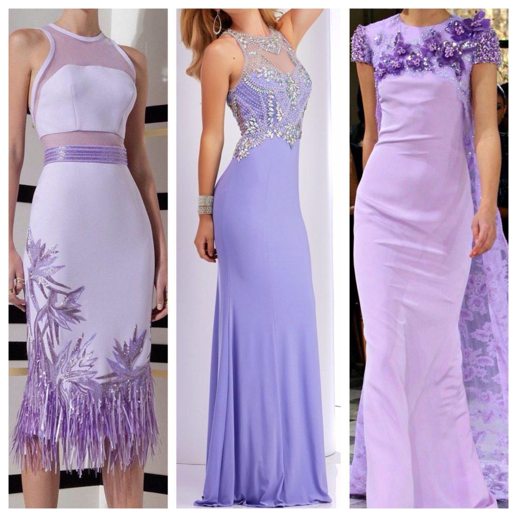 модели вечерних сиреневых платьев