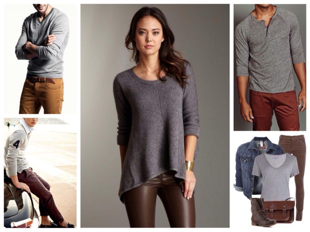 серый и коричневый