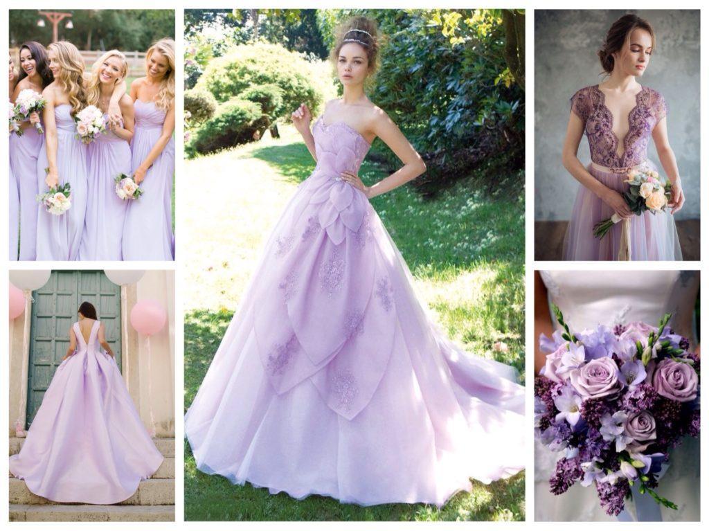 сиреневые свадебные платья