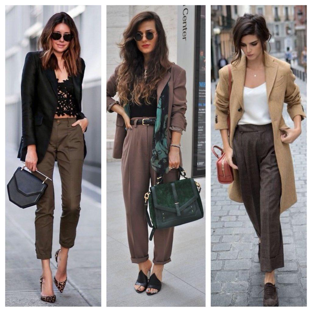 коричневые брюки в деловом образе