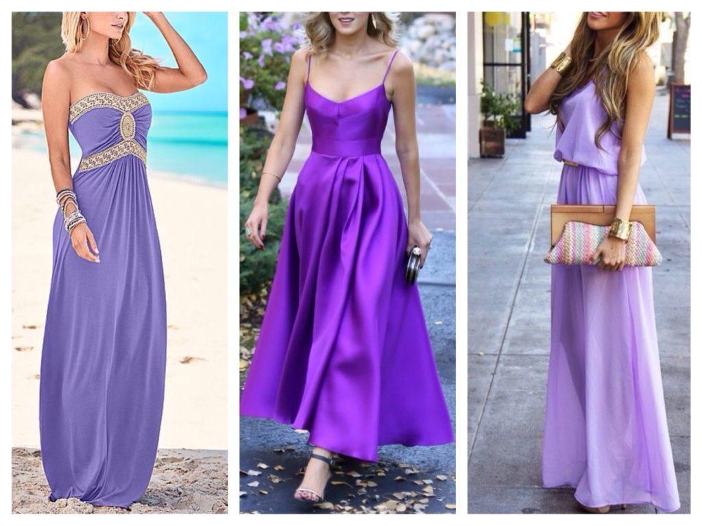 сиреневые платья в пол