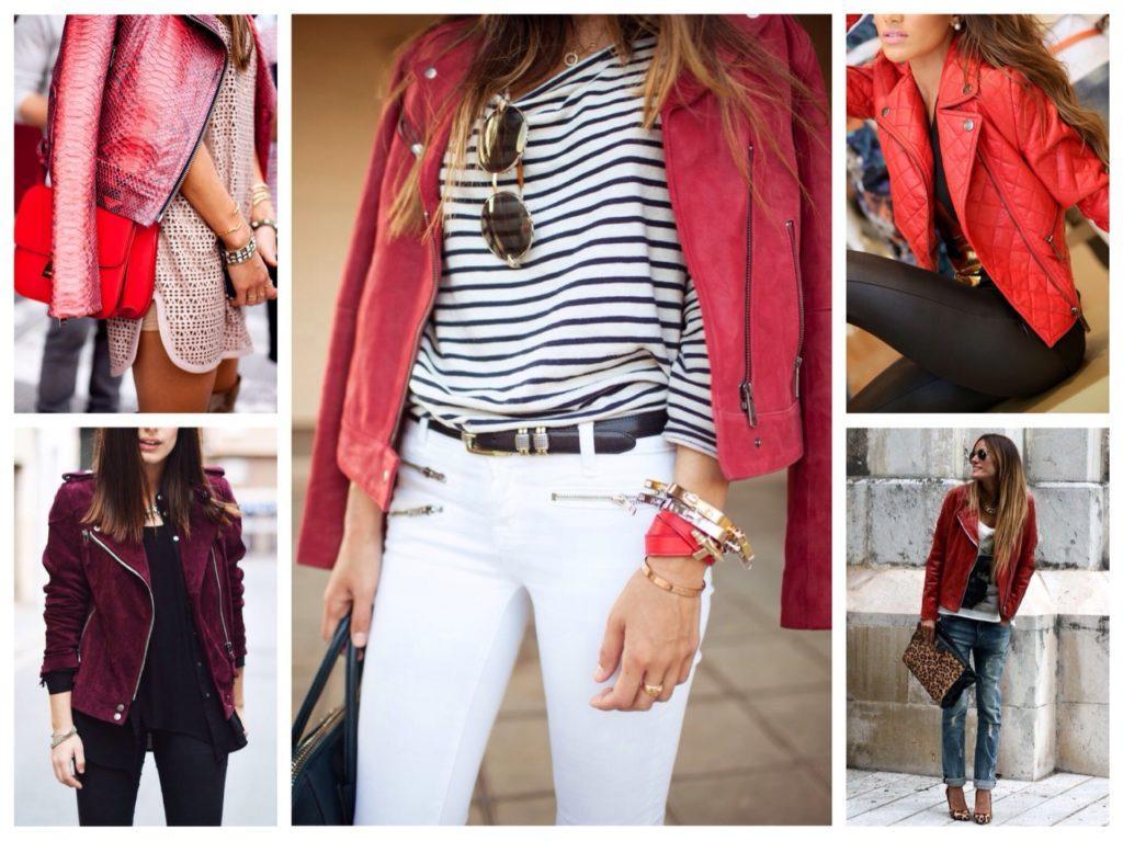 красные и розовые кожаные куртки