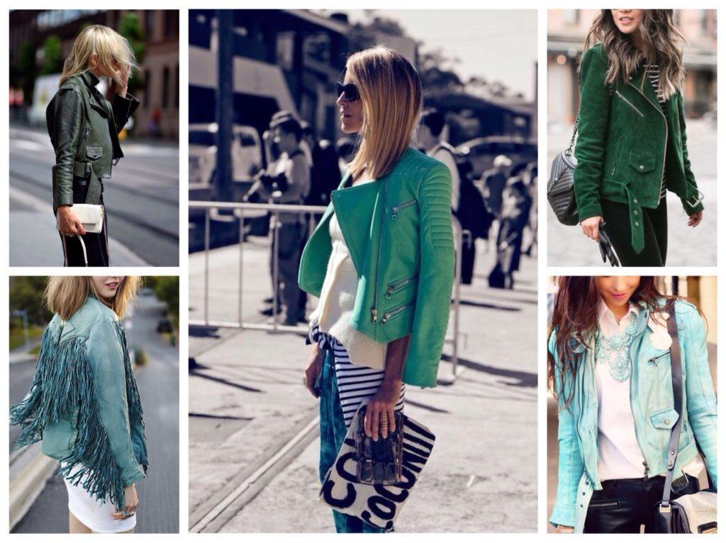 зеленые и бирюзовые кожаные куртки
