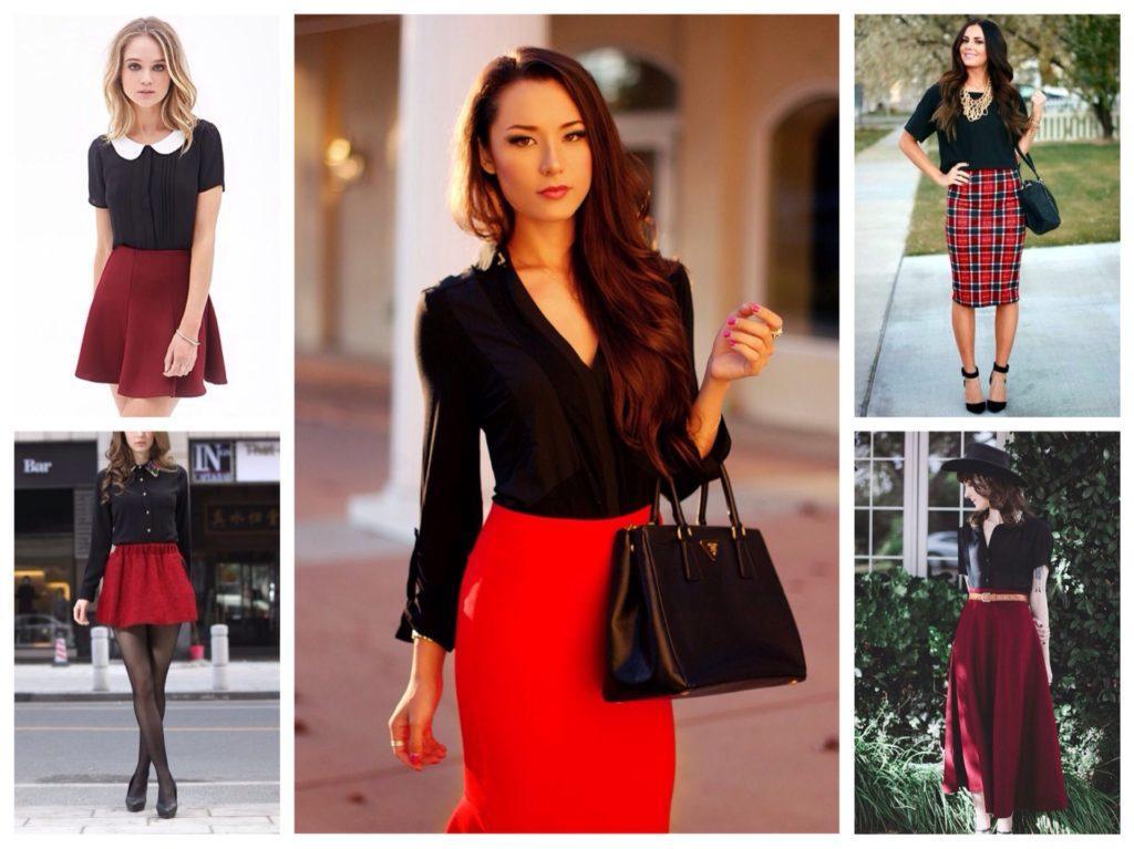 черная рубашка с красной юбкой