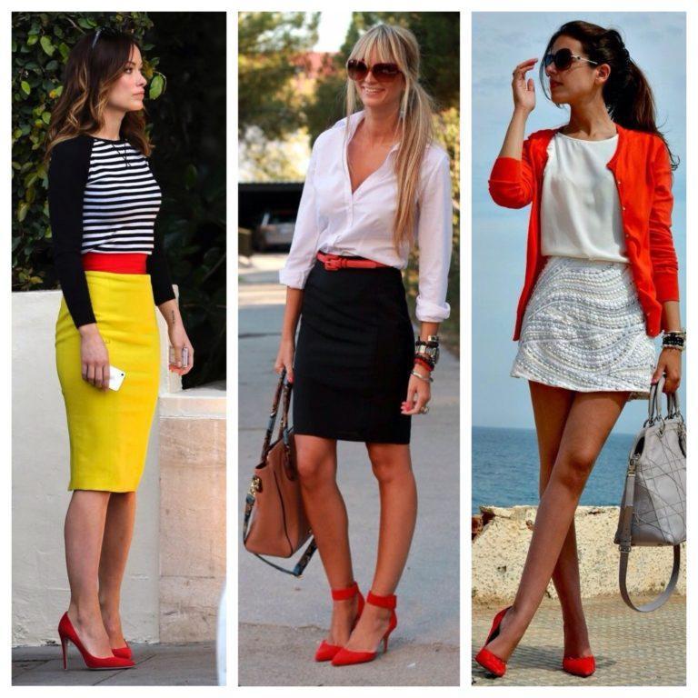 Сочетание в одежде с красными туфлями фото