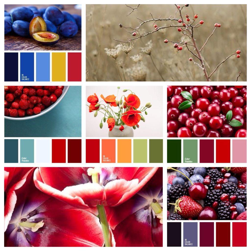 основные сочетания красного цвета