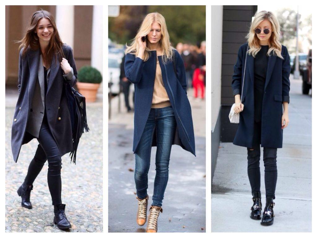 образы с темно-синим пальто