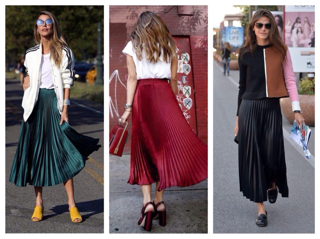 плиссированные макси юбки