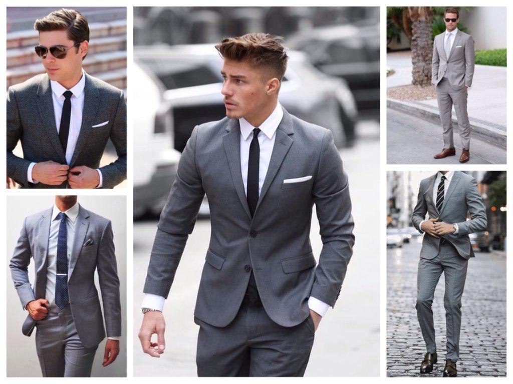 серые мужские костюмы