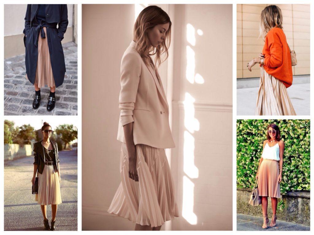 плиссированные бежевые юбки в комплектах