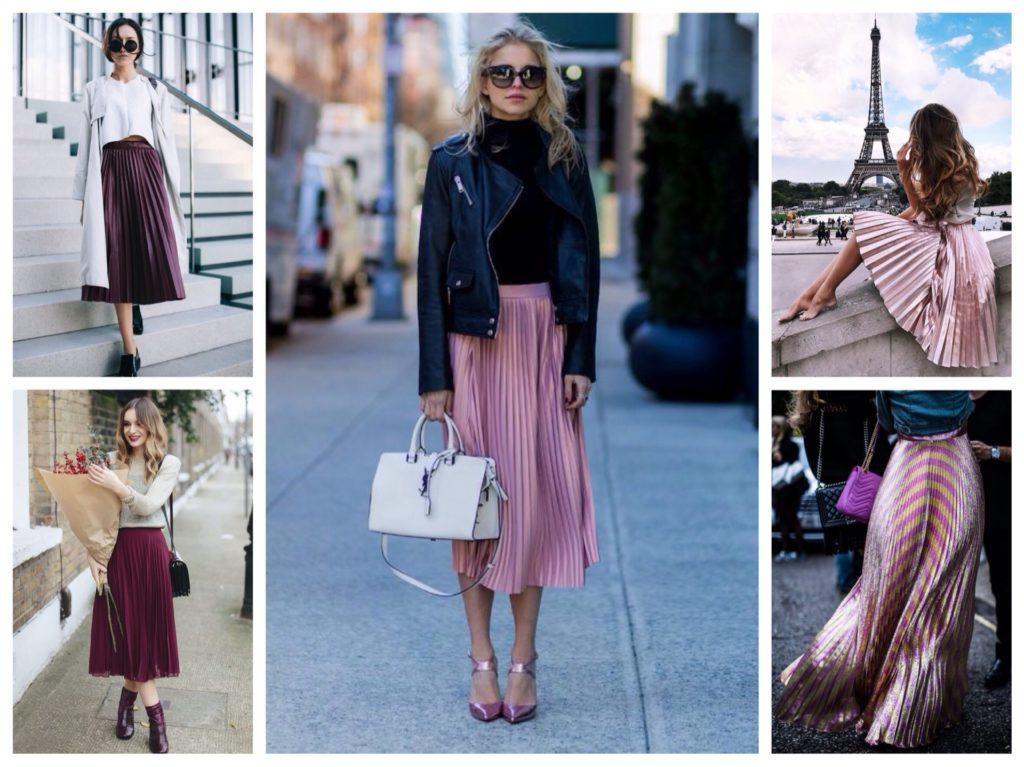 плиссированные юбки розовые и цвета вина