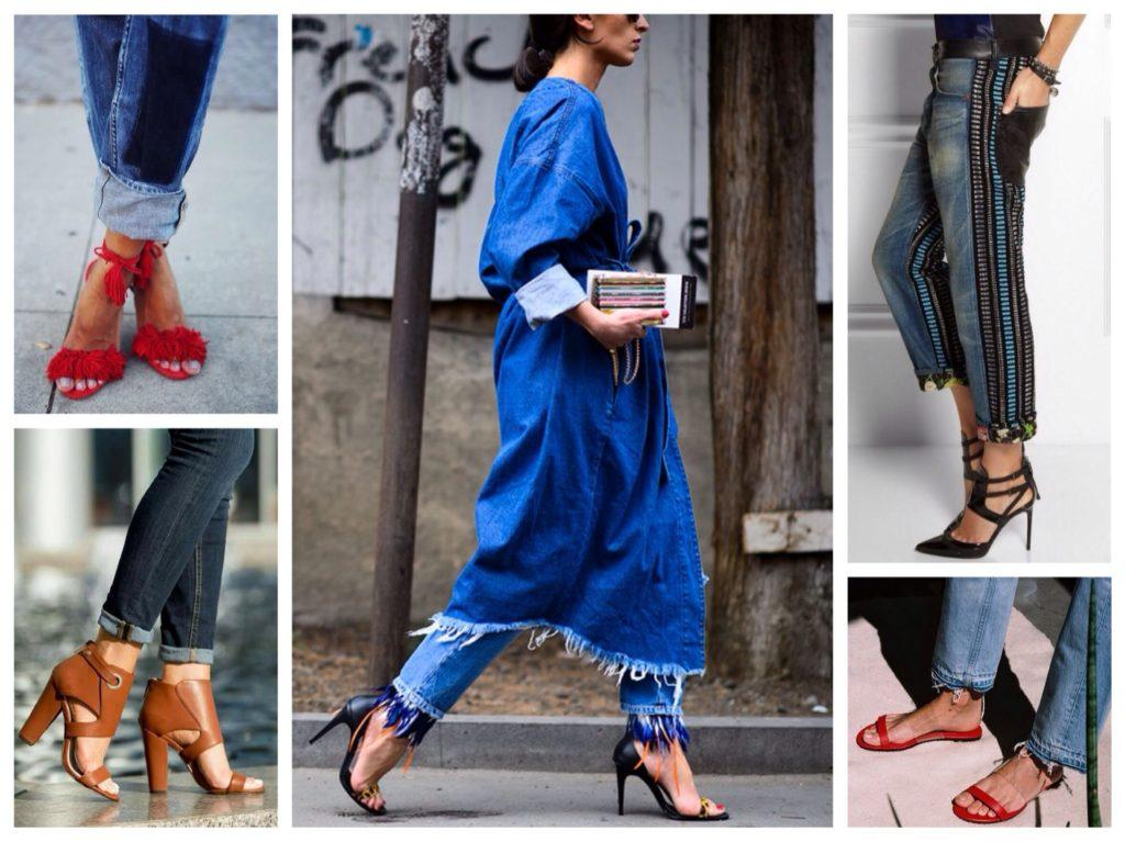 летние варианты обуви на каблуке с джинсами
