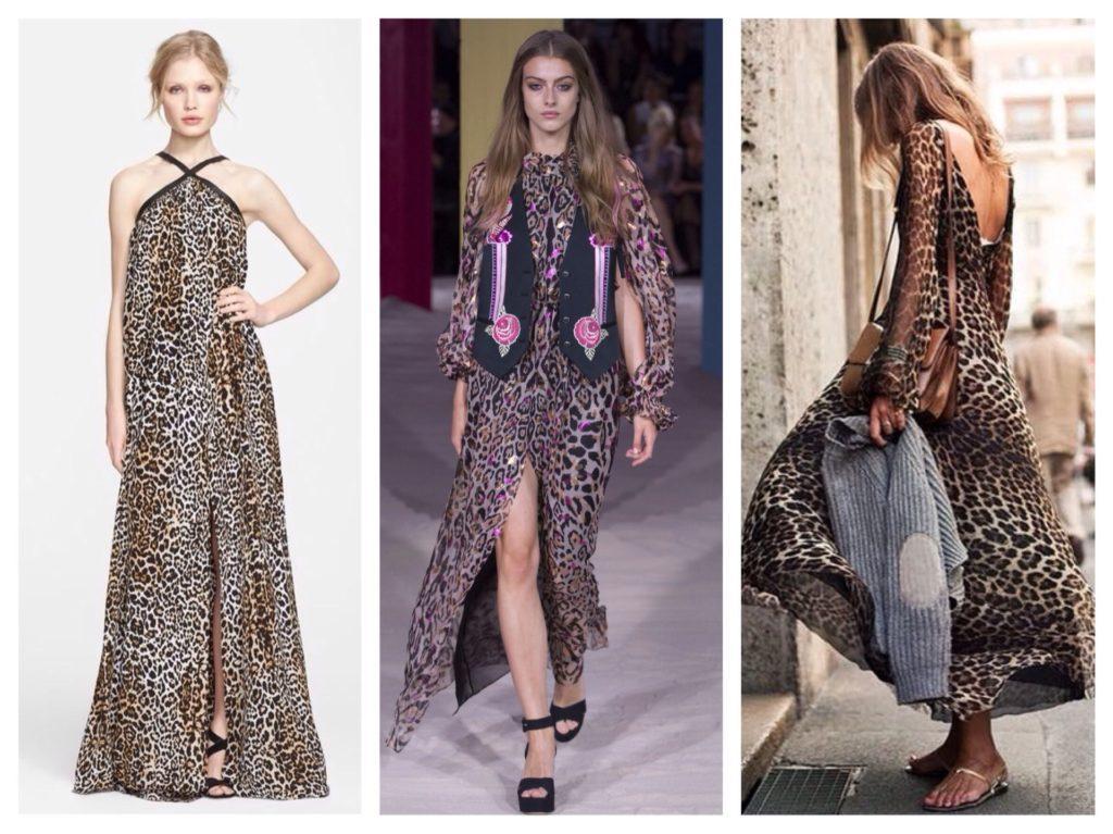 леопардовые платья в пол