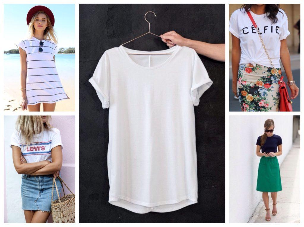 4cbb9354177 Как и с чем носить футболку и платье-футболку  фото идеи для стильных  образов