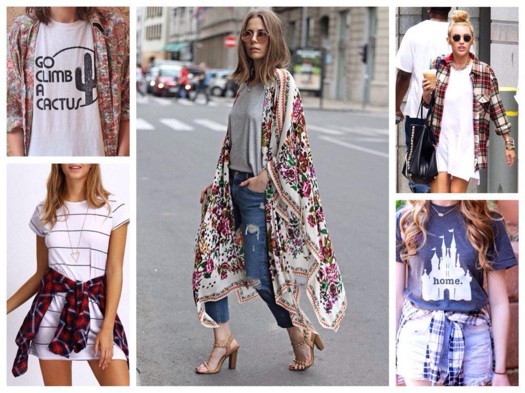 футболка с рубашкой или кимоно