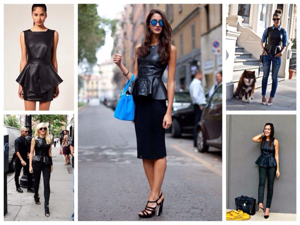 Черное платье с баской с чем носить