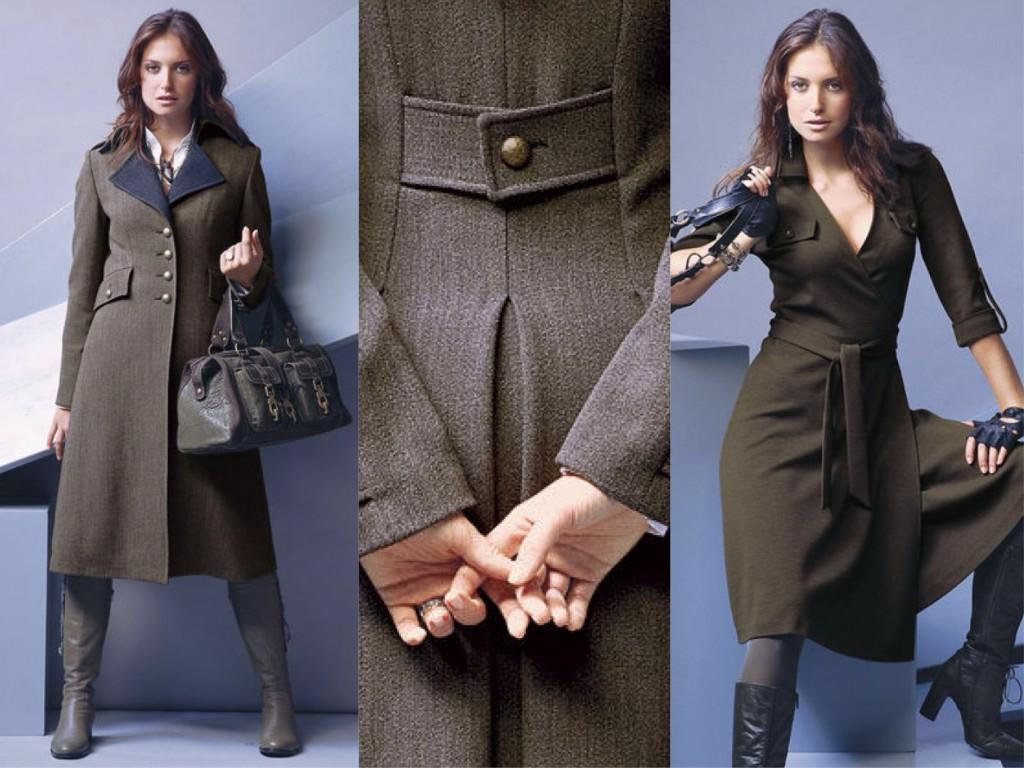 Пальто и платье в стиле милитари