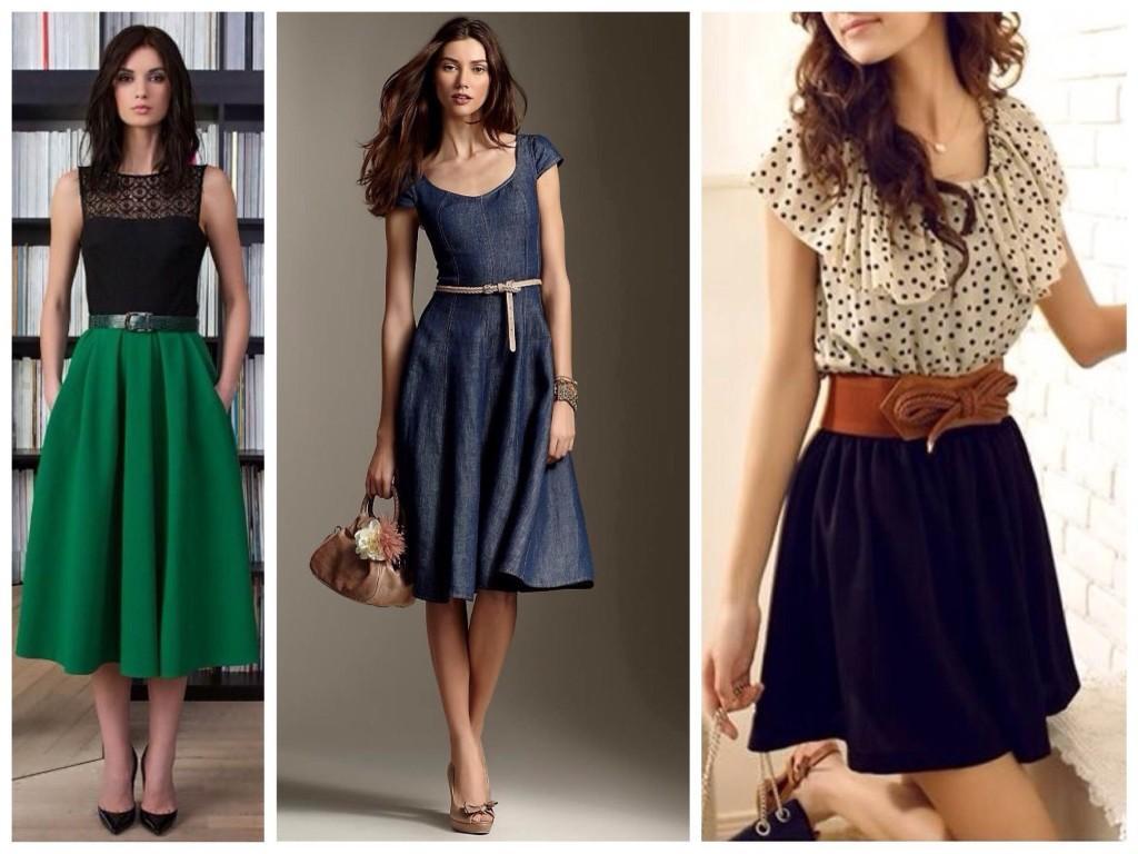 образы юбок и платье для типа фигуры груша