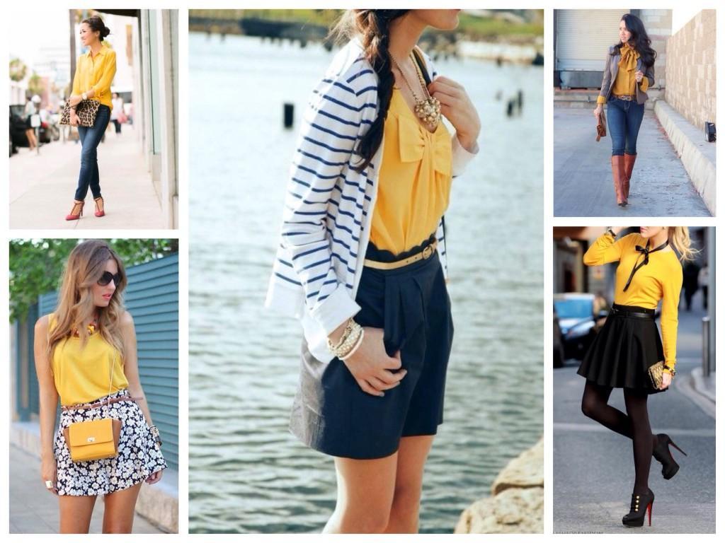 Блузы и топы горчичного цвета
