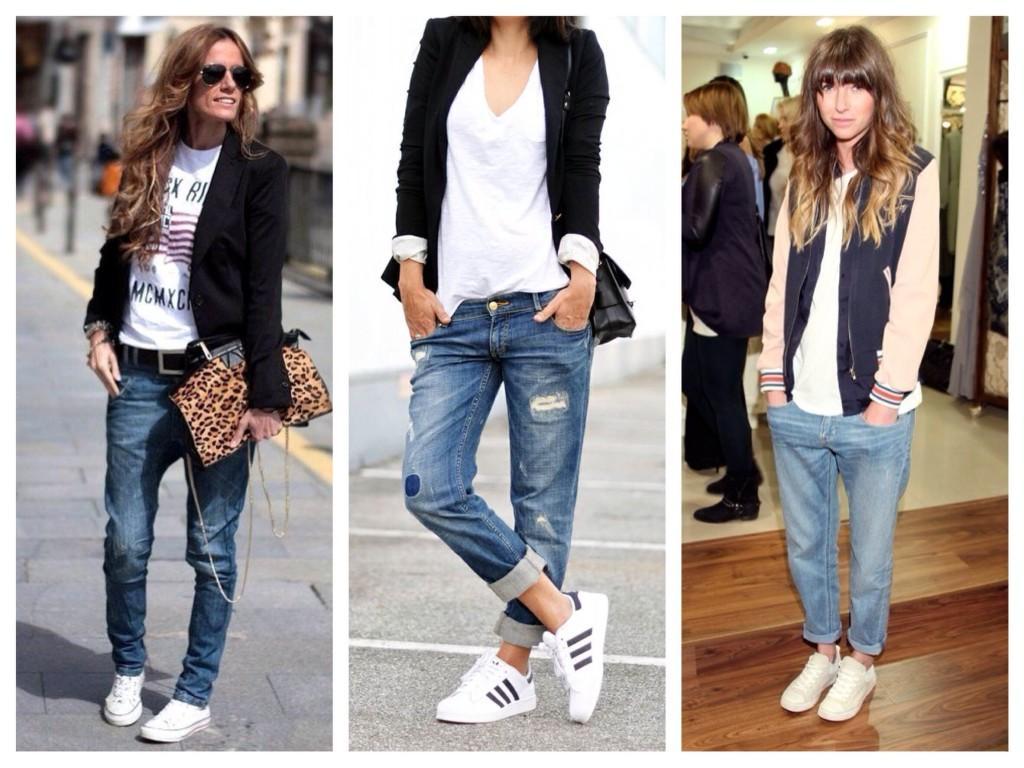 Boyfriends jeans с кедами и кроссовками