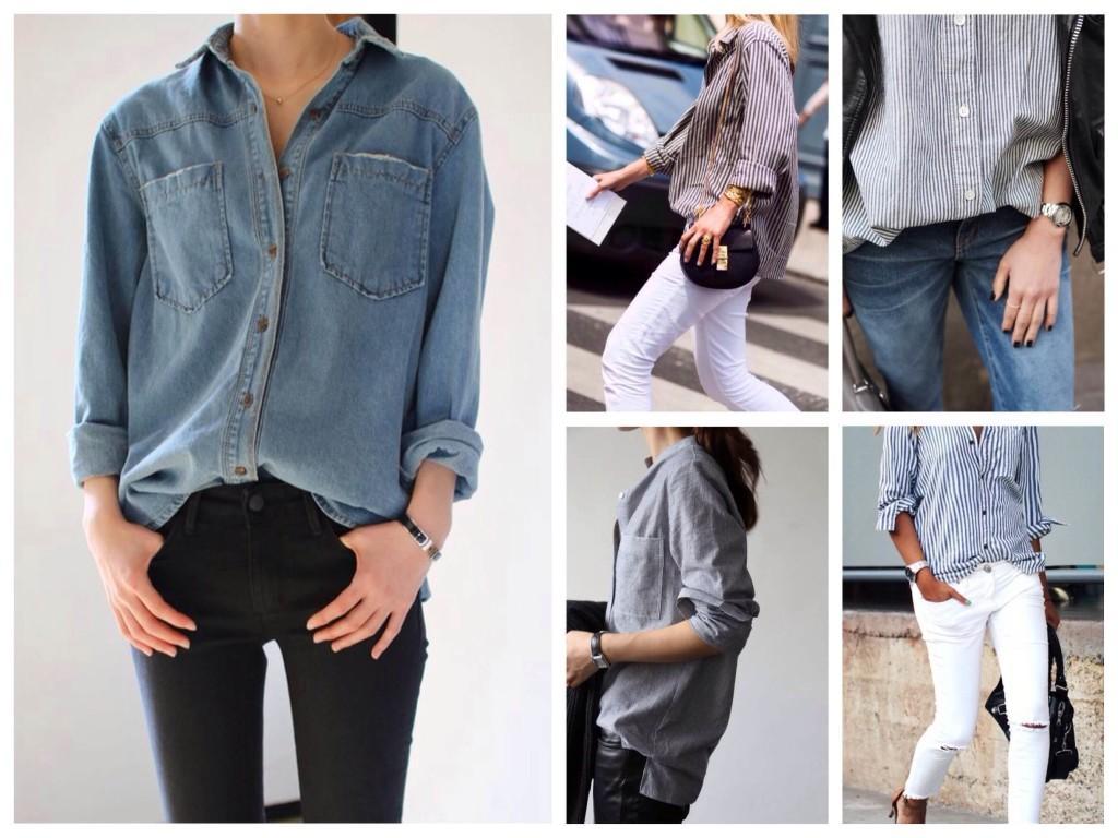 Как носить мужскую рубашку девушкам
