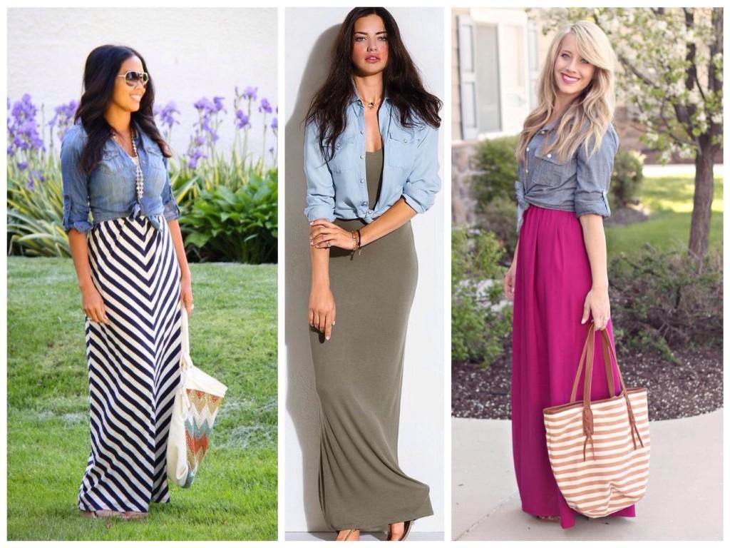 Комбинирование с длинным платьем