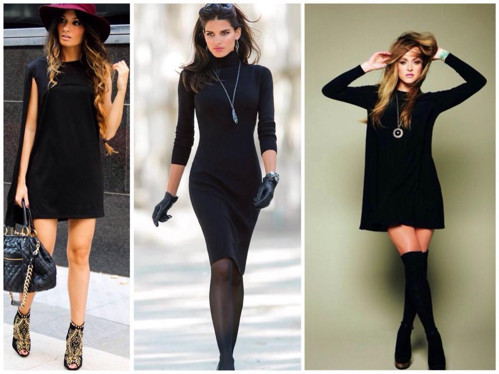 Луки с черным платьем