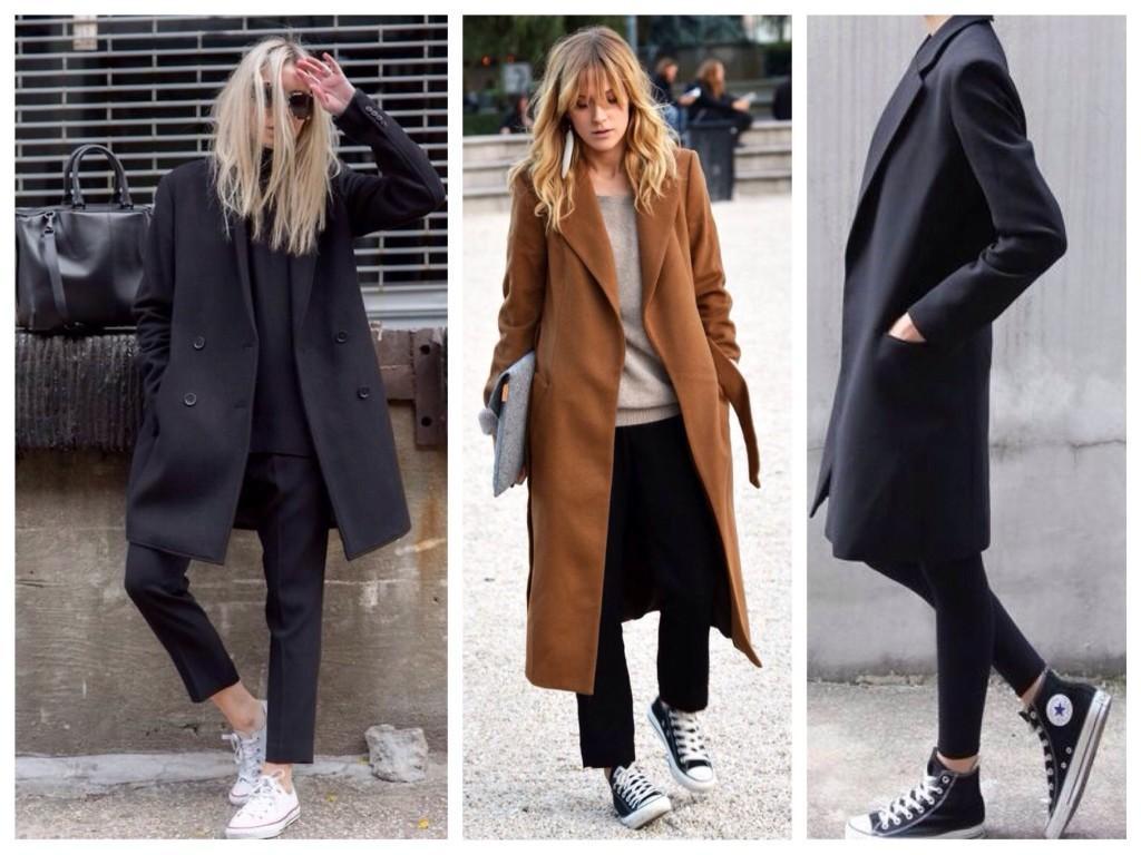 Сочетания кед и классического пальто