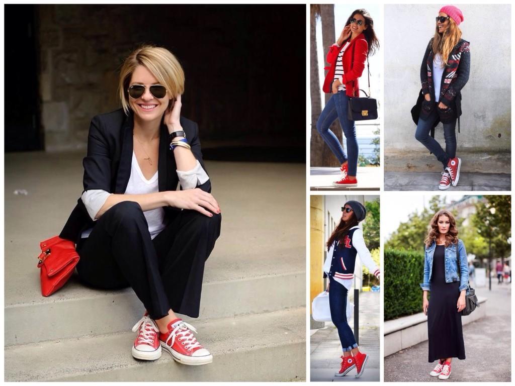 Сочетания различных комплектов одежды с красными кедами