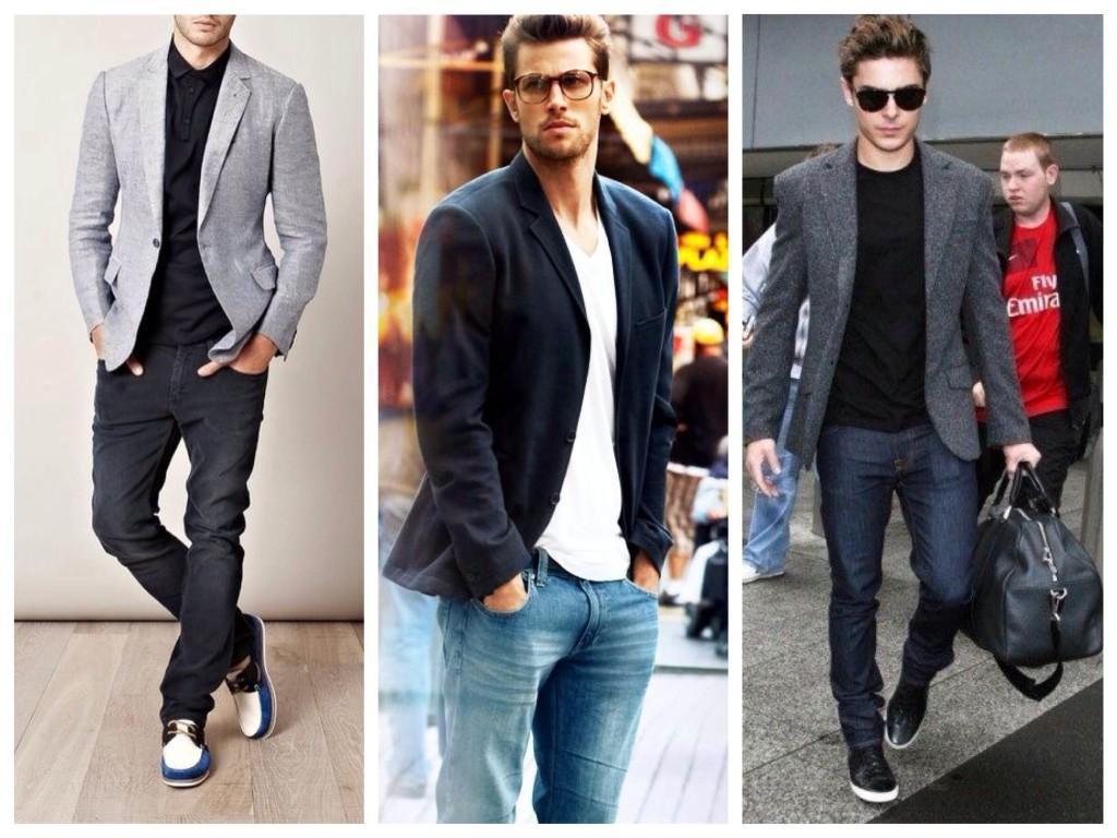 В мужском луке с джинсами