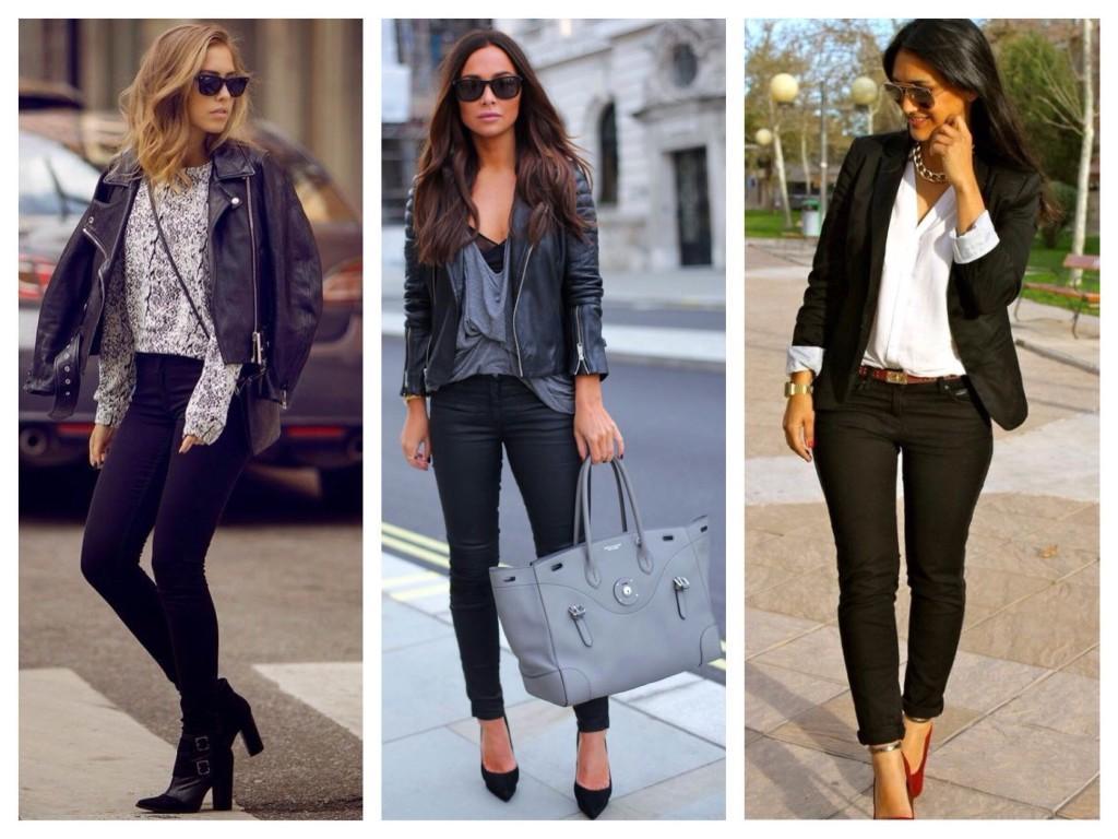 Черные зауженные джинсы в различных образах