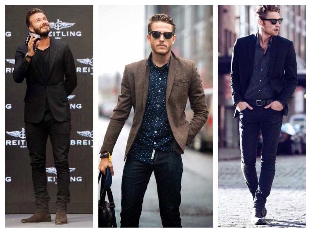 Джинсы скинни в мужских луках с пиджаком