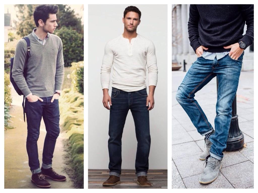 Мужские джинсы в комплекте с дерби