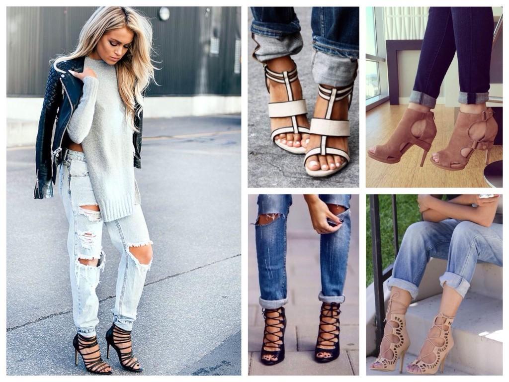 Подворачиваем джинсы к босоножкам на шнуровке