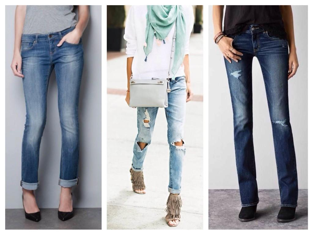 Прямые женские джинсы усредненной посадки