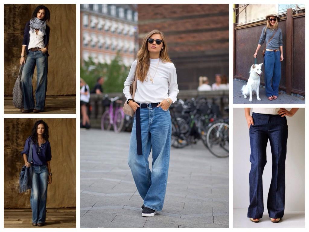 Широкие джинсы от бедра
