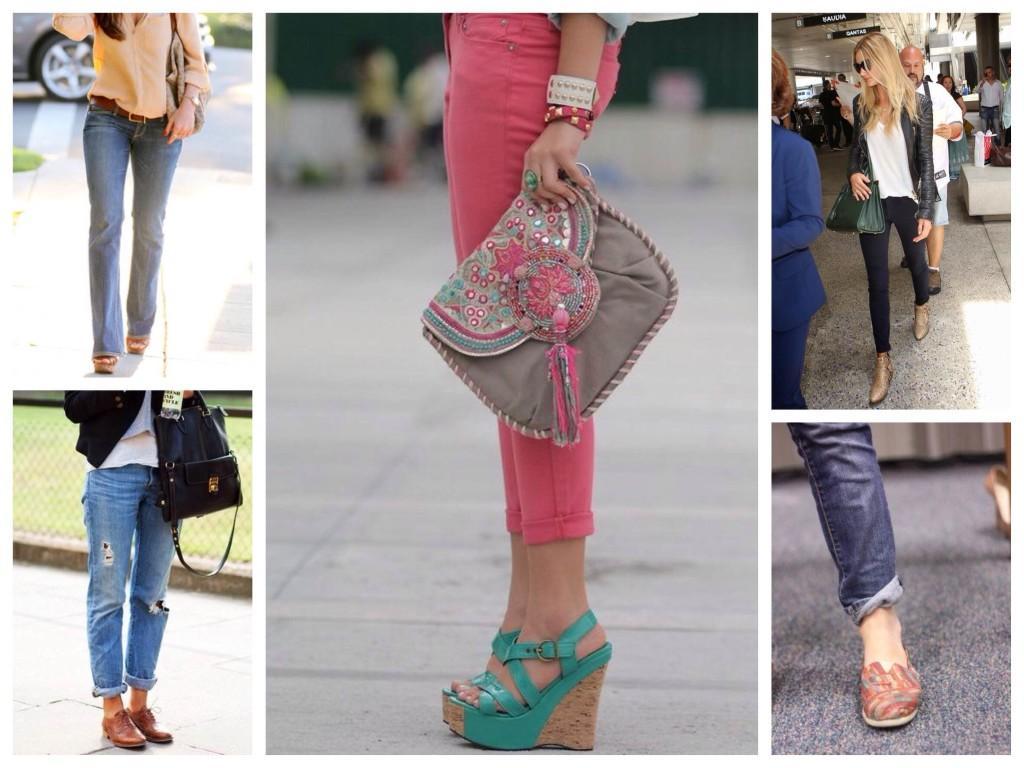 Комплекты с различной обувью для джинс