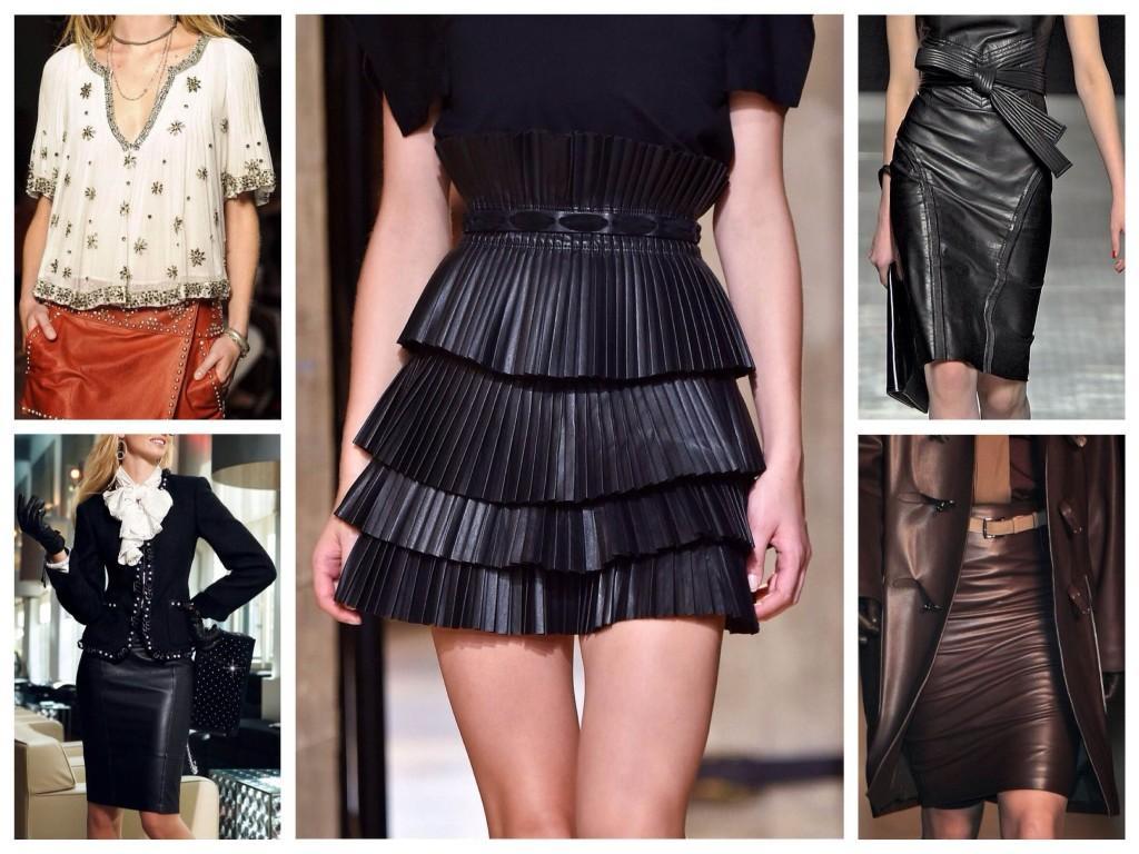 Использование кожаных юбок в модных коллекциях