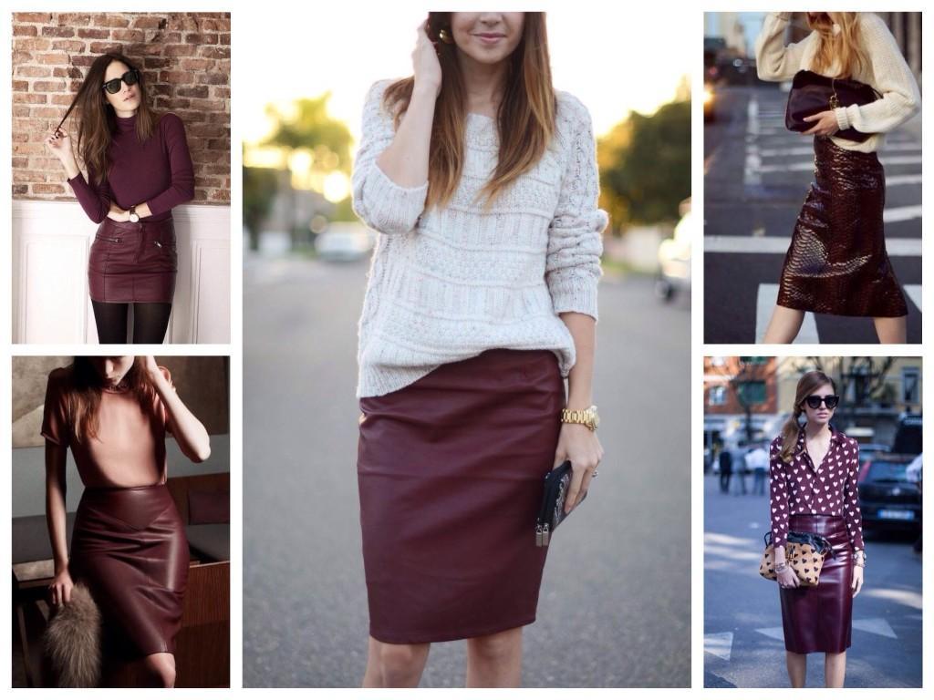 Кожаные бордовые юбки