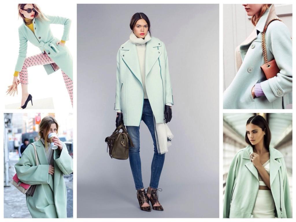 Пальто мятных оттенков