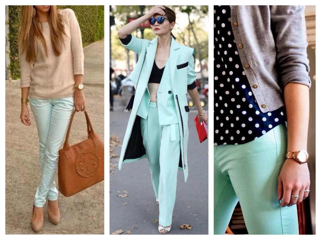 Сочетание мятных брюк в комплектах