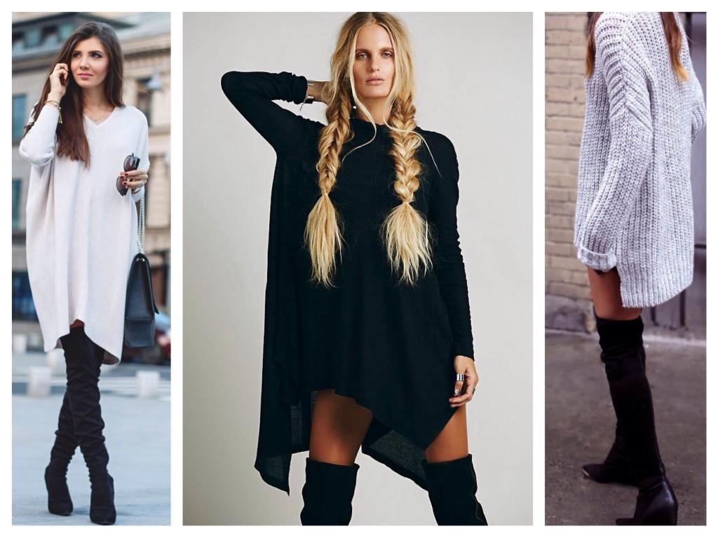 Сочетание высоких сапог и объемных свитеров