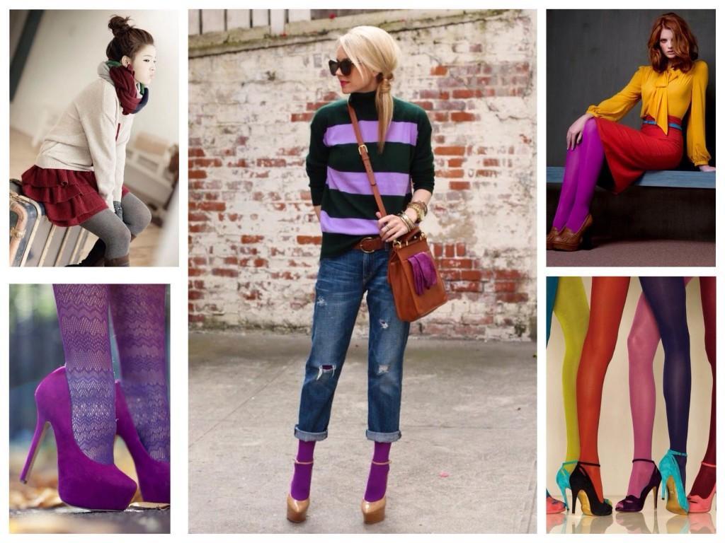 Сочетание ярких цветных колгот